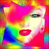 Blonde Bomb Shell, Abstract Colorful Close up face. Royalty Free Stock Image