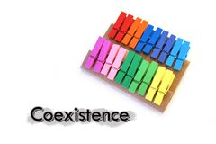 Colorful cloth clamp in concept of Coexistence. Closed up Colorful cloth clamp in concept of Coexistence Royalty Free Stock Photo