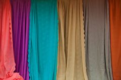 The Colorful of Cloth. Ing at the Shop Stock Photography
