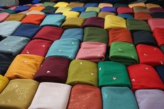 Colorful cloth fabric for sale in Asian market. Colorful woven cloth fabric for sale in Asian market. Silk fabric comes in every color Stock Photos