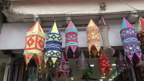 Colorful cloth lamps in Delhi market, India Stock Images