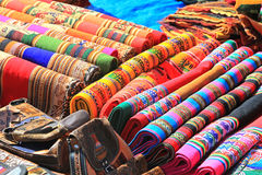 Colorful Cloth in local market of Peru Stock Images