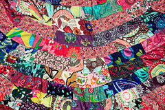 Colorful cloth made from small pieces togather Stock Photo