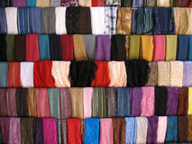 Colorful Cloth Samples in Lebanese Souk Royalty Free Stock Images