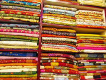 Colorful cloth and souvenirs at the market in India Royalty Free Stock Photo