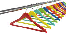 Colorful clothes hangers isolated on white background Royalty Free Stock Images