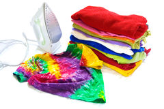 Colorful clothes and iron Royalty Free Stock Photo