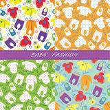 Colorful clothes for newborn baby in seamless pattern Stock Photos