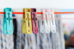 Colorful clothes peg Stock Photos