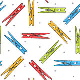 Colorful clothes peg seamless pattern. Vector illustration Stock Images