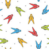 Colorful clothes peg seamless pattern. Vector illustration Stock Photos