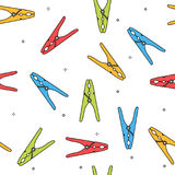 Colorful clothes peg seamless pattern Stock Photography