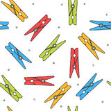 Colorful clothes peg seamless pattern. White background vector Royalty Free Stock Images
