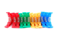 Colorful clothes pegs or pins Stock Photo