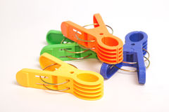 Colorful clothes pins Stock Images