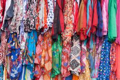 Colorful clothes for sale Stock Photos