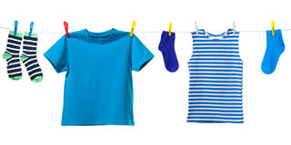 Colorful clothes on white Royalty Free Stock Image