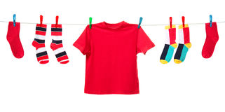 Colorful clothes on white Stock Images