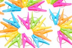 Colorful clothespins Stock Images