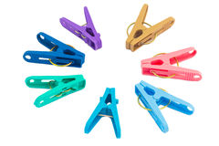 Colorful clothespins isolated Stock Photos