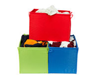 Colorful clothing boxes Royalty Free Stock Images