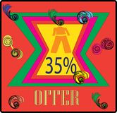 CLOCTING 35% OFFER COLORFULL TAG IMAGE stock illustration