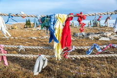 Colorful cloths at Medicine Wheel Stock Photography