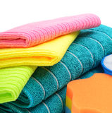 Colorful cloths microfiber and towels isolated on a white backgr Royalty Free Stock Image