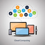 Colorful Cloud Computing Concept Design with Icons in the Cloud Representing Various Kinds of Digital Media and Storage Services Stock Photos