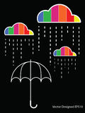 Colorful cloud with rain drop on the umbrella royalty free illustration