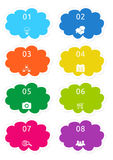 Colorful cloud shape buttons Stock Photo