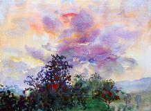 Colorful of cloud in the sky and emotion in sunset. Watercolor landscape original painting colorful of cloud in the sky and emotion in sunset background Stock Images