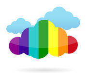 Colorful cloud transferring information. Illustration design over white Royalty Free Stock Image