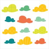 Colorful clouds. Colorful cartoon   clouds,  illustration Stock Photo