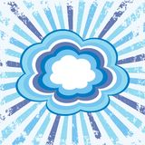 Colorful clouds. Set of colorful clouds on blue and white grunge background made of stripes Royalty Free Stock Images