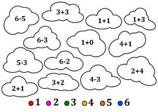 Colorful clouds as the counting for little kids - coloring book. Illustration Stock Photo