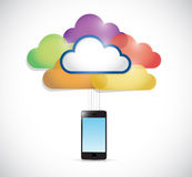 Colorful clouds connected to a smartphone. Royalty Free Stock Photo