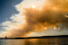 Fire Clouds on the Lake Royalty Free Stock Photography