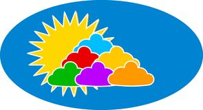 Colorful clouds and sun Royalty Free Stock Image