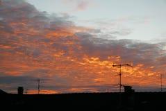 Morning sky over italian roofs royalty free stock photo