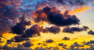 Colorful cloudy sky at sunset Royalty Free Stock Photo