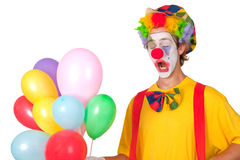 Colorful clown with balloons Royalty Free Stock Photos