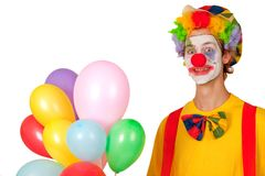 Colorful clown with balloons Stock Photos