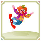 Colorful clown jumping of joy Stock Photo