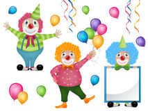 Colorful Clowns and Balloons Stock Photo