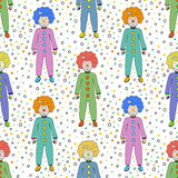 Colorful clowns seamless pattern background. Kids textile design. Vector circus illustration Stock Photos