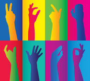 Colorful clusters of hands Stock Photo