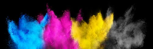 Free Colorful CMYK Cyan Magenta Yellow Key Holi Paint Color Powder Explosion Isolated Dark Black Background. Printing Print Business Stock Photography - 181182612
