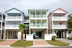 Colorful coastal rentals Royalty Free Stock Image