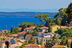 Colorful coastal town of Mali losinj. Residential area by the blue sea Royalty Free Stock Photography